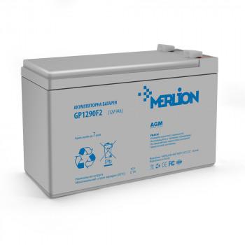 Аккумуляторная батарея MERLION AGM GP1290F2 12 V 9 Ah ) White / Black